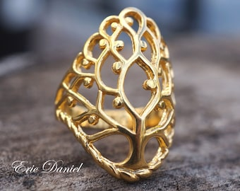 Tree of Life Ring in Solid 10k, 14k or 18k White, Yellow or Rose Gold, Anniversary Ring, Gold Tree Ring, 14K Tree Ring, Solid Gold Tree