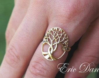 Tree of Life Sterling Silver, Available in Silver, Yellow Gold or Rose Gold, Tree Ring, Family Tree Ring ,Family Ring, Tree of Life Ring