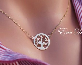 14k Solid Yellow Gold Tree of Life Necklace, Gold Family Tree Necklace, Handmade, Tree of Life, Family Necklace, Gold Tree of Life