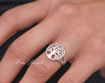 Solid Gold 10k, 14k, 18k Tree of Life Ring in White, Yellow or Rose Gold. Family Tree Ring With Branches.