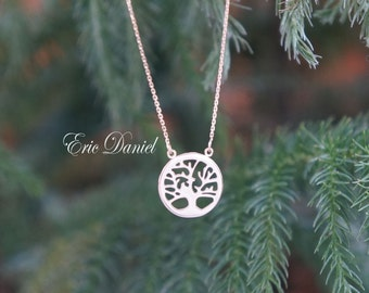 14k White Gold Tree of Life Necklace, Gold Family Tree Necklace, Handmade, Tree of Life, Family Necklace, Gold Tree of Life