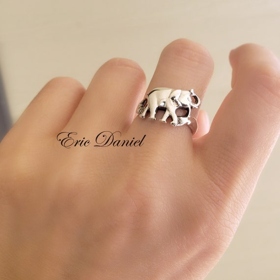 10k 14k Couples rings or 18k Solid Gold Family Elephant Ring in White Elephants in Love. Yellow or Rose Gold Good Luck Ring