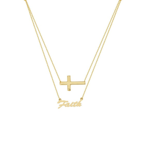 10K Gold Have Faith Necklace by JEWLR