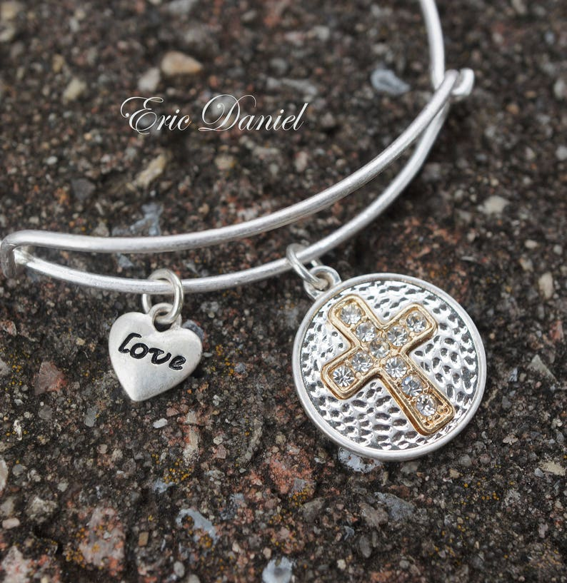 Spiritual Bangle Love Bracelet Cross Bracelet CZ Cross Charm Cross Charm Bangle Silver Religious Bangle