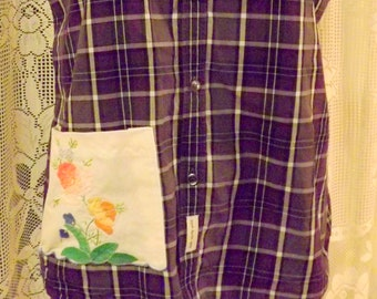 Purple plaid tank top string straps upcycled shirt