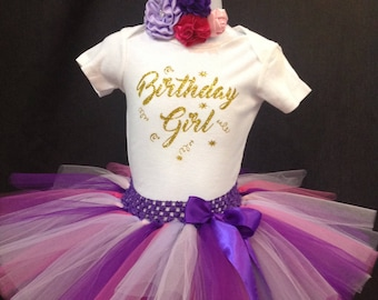 Rainbow First Birthday Outfit, First Birthday Tutu Set, 1st Birthday Tutu, Pink Purple Birthday Shirt Tutu Set, Girls Birthday Outfit, Tutu