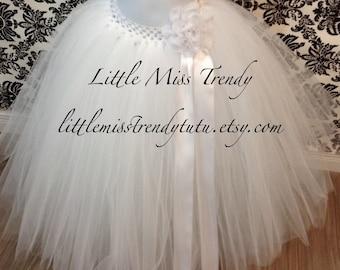 Flower Girl Tutu, White Tutu, Long White Tutu, Tutu Skirt, Wedding Tutu, Flower Girl Dress, White Tutu, Girls Tutu, Toddler White Tutu Skirt