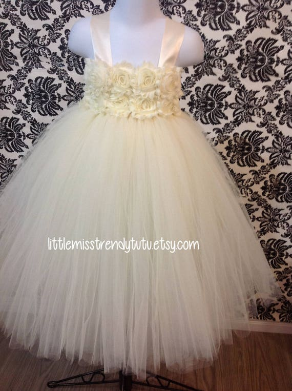 426a65cf97c Couture Tutu Dress Ivory Flower Girl Tutu Dress Ivory Flower
