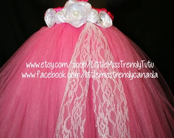 Shocking Pink Tutu Dress with White Handmade Flowers, Aurora Tutu Dress, Pink Tutu Dress, Pink Flower Girl Tutu Dress