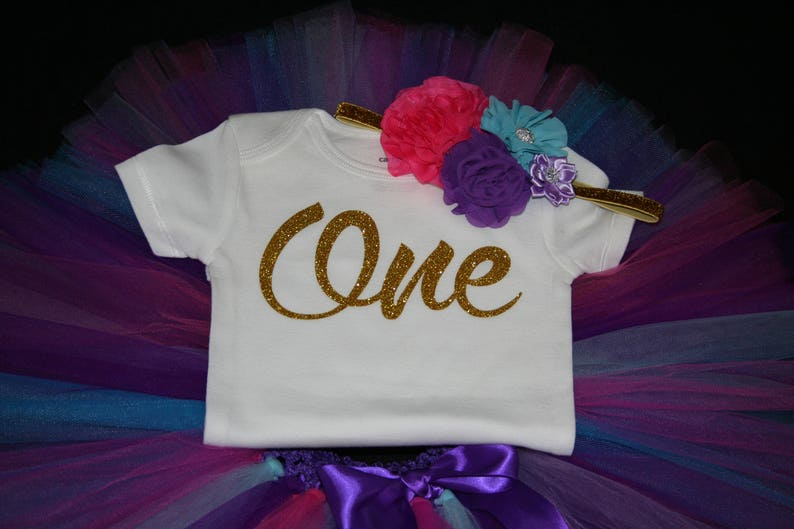 ONE Birthday Outfit Girls First Birthday Outfit Purple Girl Birthday Outfit Birthday Outfit Girl Tutu Purple Blue First Birthday Tutu