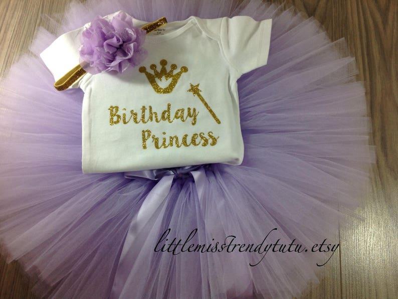 Purple Birthday Outfit Girl Cake Smash Outfit Girl Princess Birthday Shirt 1st Birthday Tutu Dress Lilac Birthday Tutu Birthday Shirt