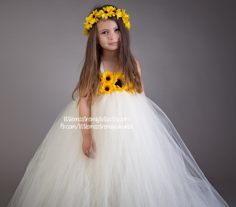 4bb24a0fb94f5 Ivory Sunflower Tutu Dress, Sunflower Tutu Dress, Tutu Dress with  Sunflowers, Sunflower Flower Girl Dress, Flower Girl Tutu Dress Sunflowers