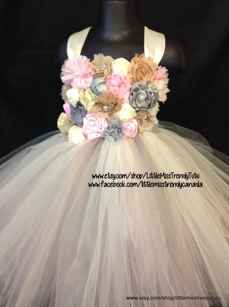 ca491b81815 Vintage Flower Girl Tutu Dress Ivory Flower Girl Tutu Dress
