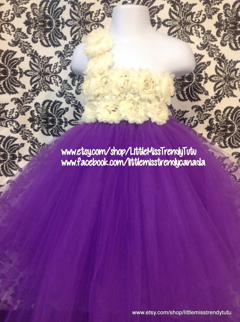 f7c970fb0681 One Shoulder Purple Flower Girl Tutu Dress Purple Ivory | Etsy