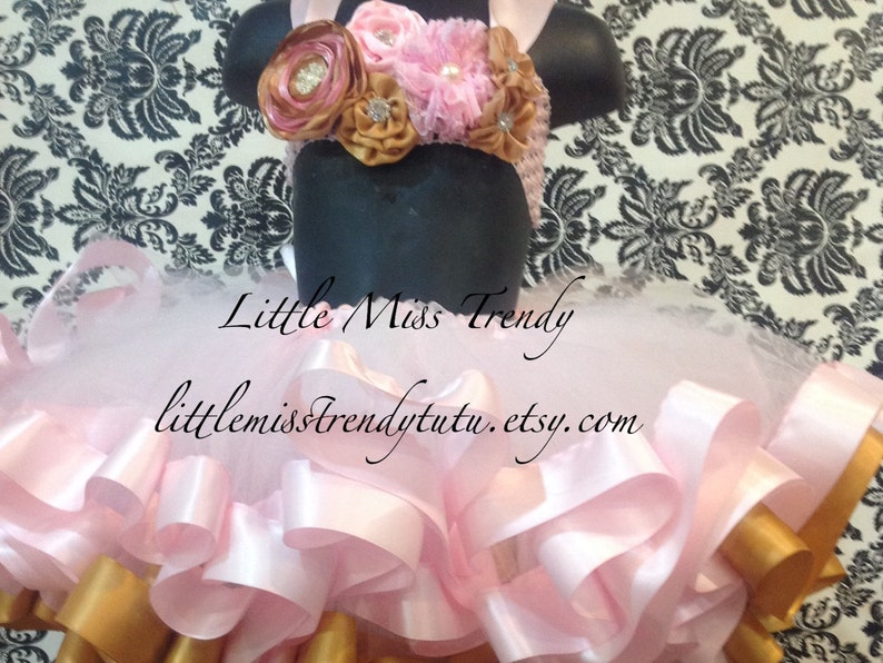 Pink and Gold Ribbon Trim Tutu with Matching top Pink Gold Tutu Pink Gold Cake Smash Pink Gold Tutu Ribbon Tutu Pink Gold Birthday Tutu