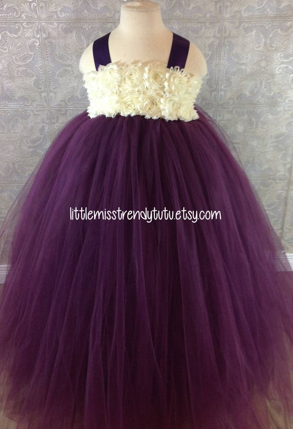 744ccfc2137 Plum Ivory Tutu Dress Plum Ivory Flower Girl Tutu Dress Plum