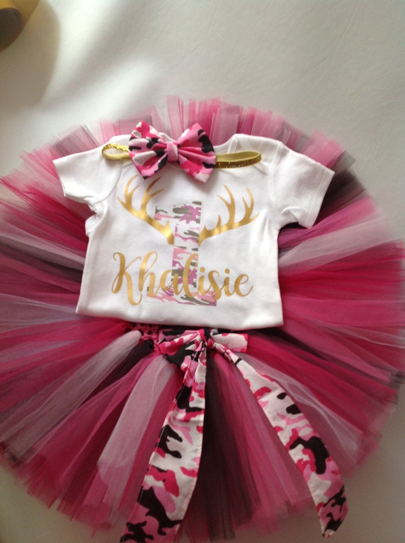 240e2b4d3 Camo Tutu Set Girls First Birthday Tutu Skirt Pink Camo Tutu | Etsy