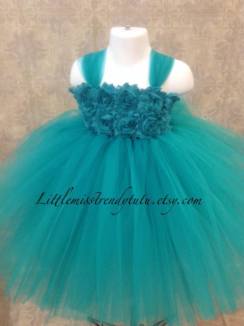 9807389da46f Teal Flower Girl Dress Teal Tutu Dress Dark Turquoise Tutu | Etsy