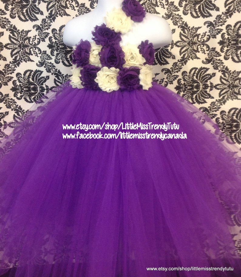 d22800baa863 One Shoulder Purple Flower Girl Tutu Dress with Purple Ivory | Etsy