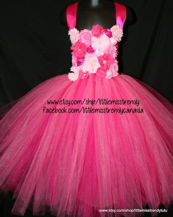 62a74411f4ab Pink Couture Flower Girl Tutu Dress Pink Flower Girl Tutu
