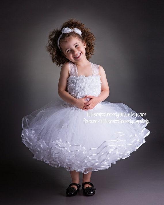 White flower girl tutu dress white couture tutu dress ribbon etsy image 0 mightylinksfo