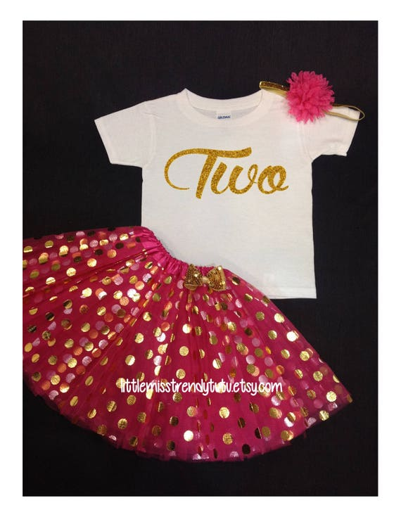 277bd2991 Hot Pink Gold Tutu Set Birthday Set Second Birthday Pink | Etsy