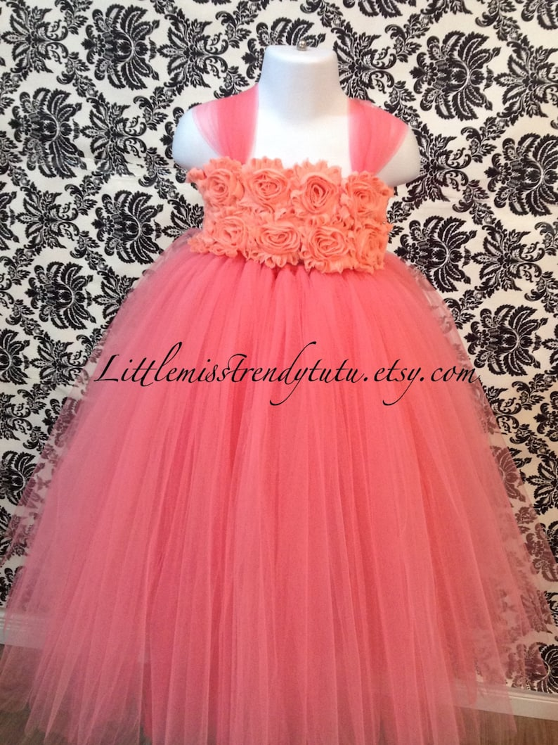 Coral Tutu Dress Coral Peach Flower Girl Tutu Dress Coral and Peach Tutu Dress Coral Flower Girl Tutu Dress Flower Girl Tutu Dress