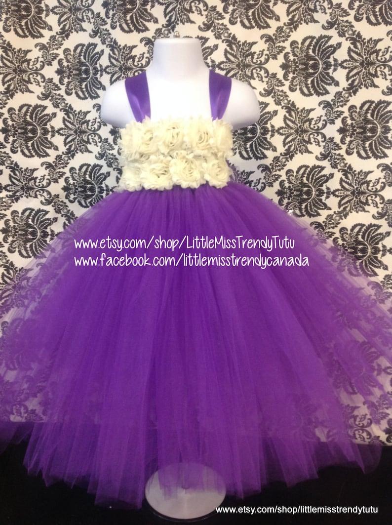 0399f8bbaea7 Purple Flower Girl Tutu Dress Purple Tutu Dress with Ivory | Etsy