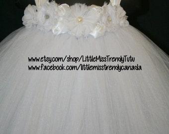 White Tutu Dress, Tutu Dress, Flower Girl Tutu Dress, Flower Girl, White Flower Girl Tutu Dress with flowers, Girls Tutu Dress, Tutu