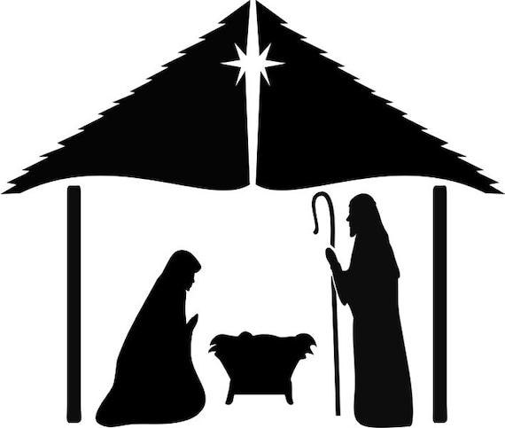 Ww18 Nativity Scene Mary Jesus Joseph Stencil Etsy