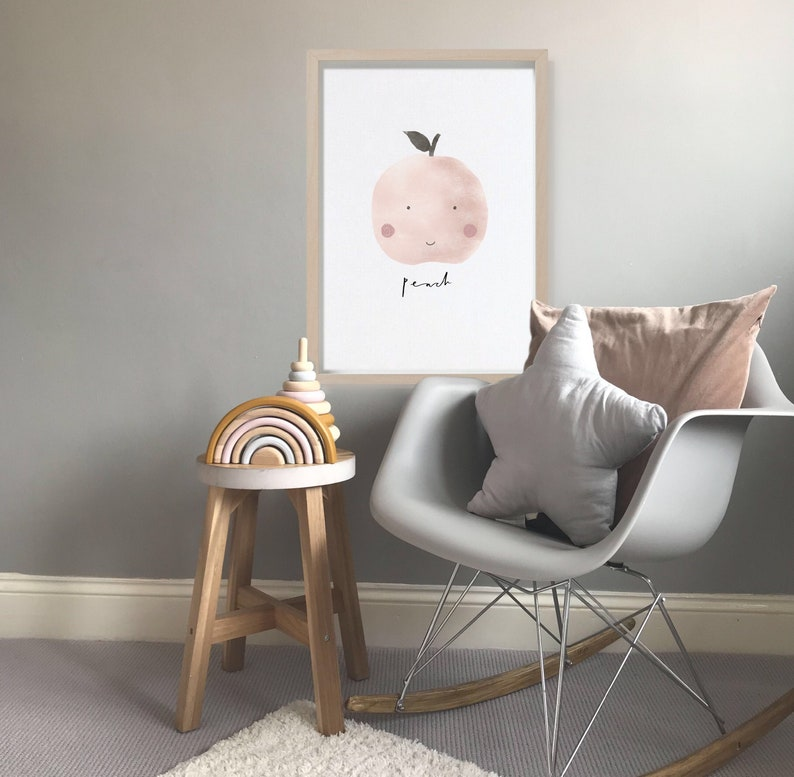 Peach Print  Fruit Print Fruit Art Cute Nursery Print image 0