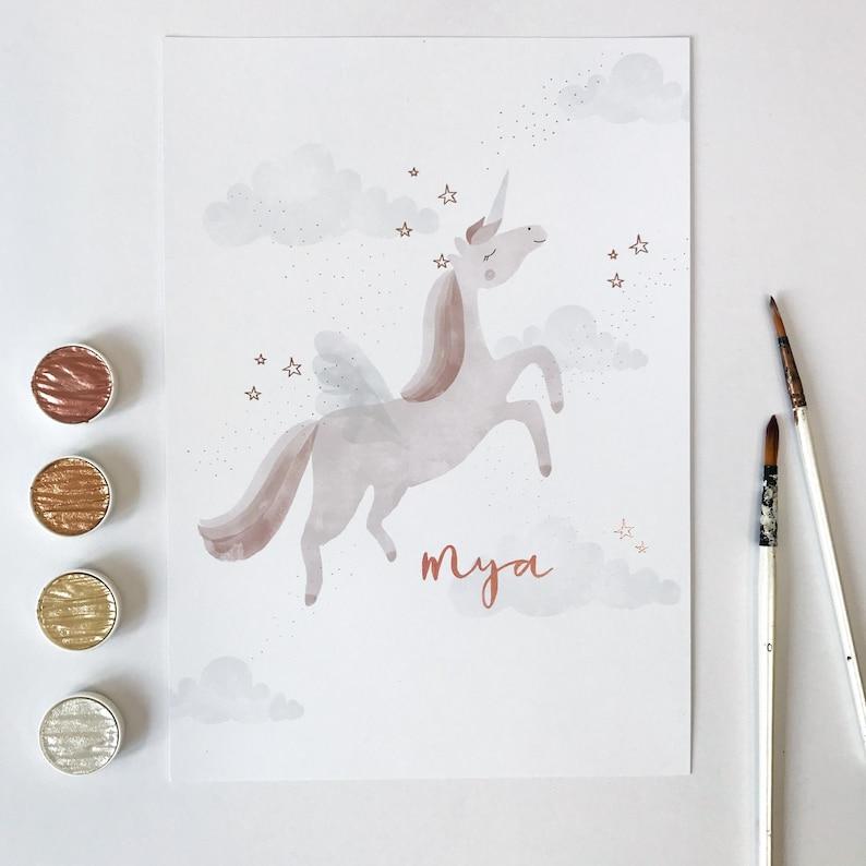 Personalised Unicorn Print Foiled Unicorn Print Rose gold image 0
