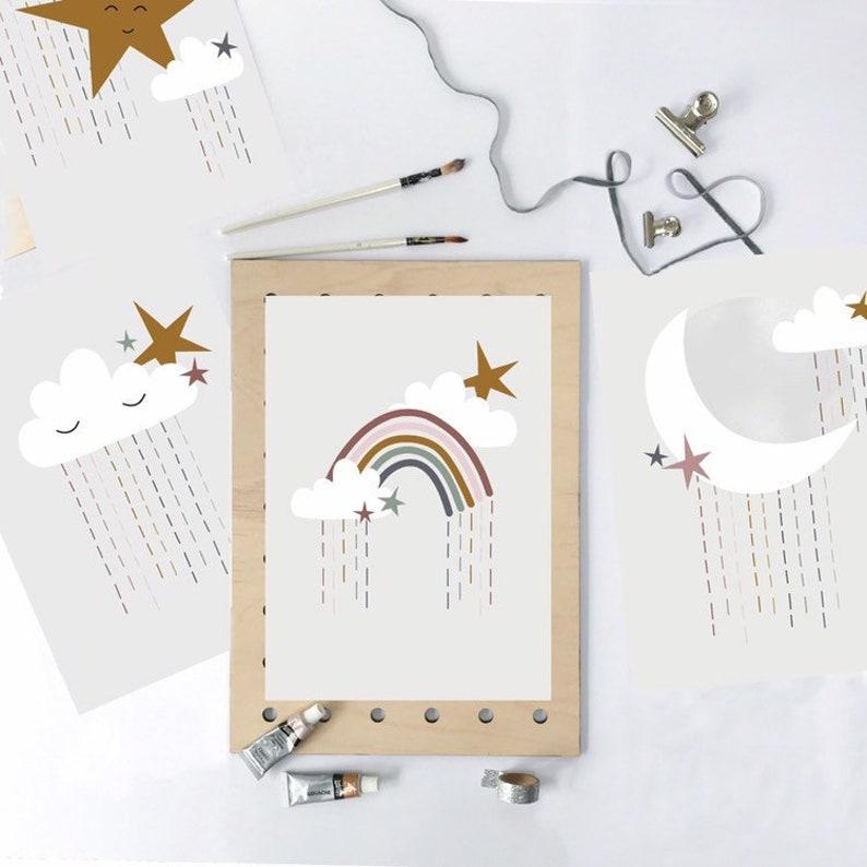 Rainbow Rain print  Framed or Unframed Print Nursery Art image 0