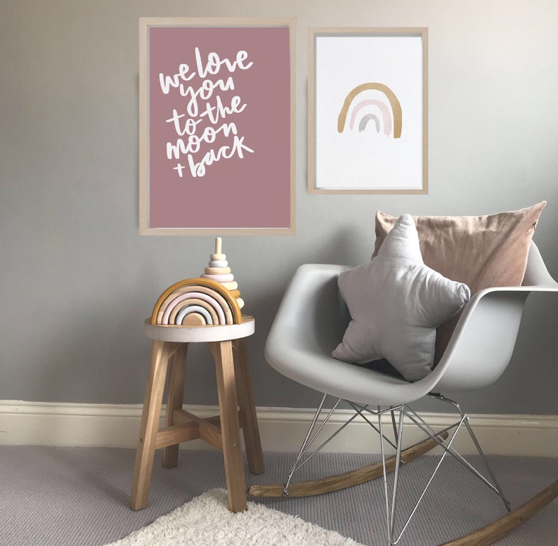 We Love You To The Moon And Back Print  Quote print Nursery image 0