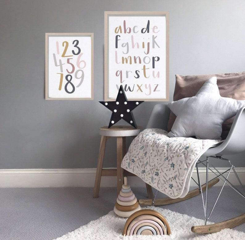 Alphabet ABC Print  Light Multicolour Framed or Unframed image 0