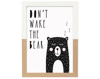 Kids Room Print Don't Wake The Bear | Nursery Decor, Monochrome Nursery, Black and White Print, Animal Wall Art, Scandi Print, Nursery Print
