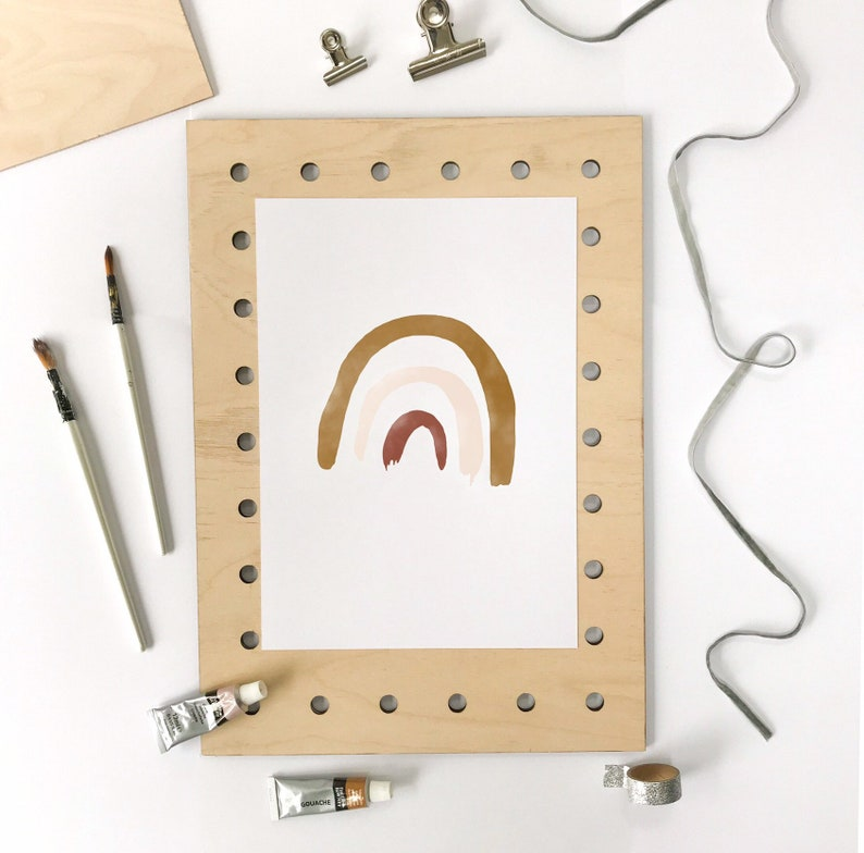 Rainbow Poster A2 50x70  Rust Mustard Nude Nursery Art image 0