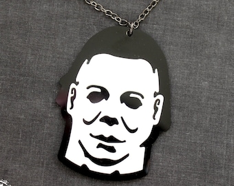 Michael Myers Necklace, laser cut acrylic - CUSTOMIZE your chain and length! Halloween 1978 - 2018