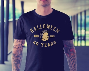 Halloween movie 40th Anniversary 1978 to 2018 sports team logo - Unisex/Mens - Michael Myers T-Shirt in BLACK, RED, NAVY, Heather