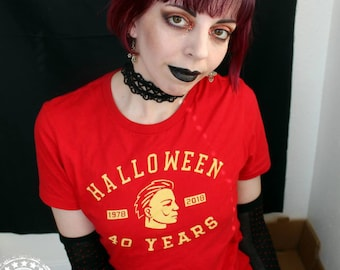 Halloween movie 40th Anniversary sports team logo - womens - Michael Myers T-Shirt in BLACK, RED, or HEATHER