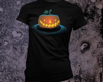 Jack-o-Lantern Women's T-Shirt in BLACK or Navy