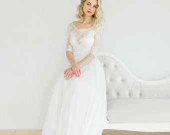 White vintage style wedding dress