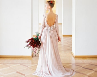 Romantic silk chiffon lace lining wedding dress