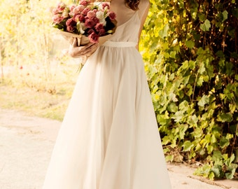 Two piece wedding dress with cotton slip