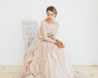 Romantic silk batiste and lace lining wedding dress