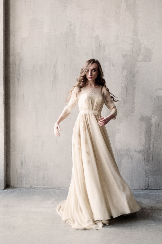 S-M size/Corset wedding dress with elbow sleeve sheer bodice | Etsy