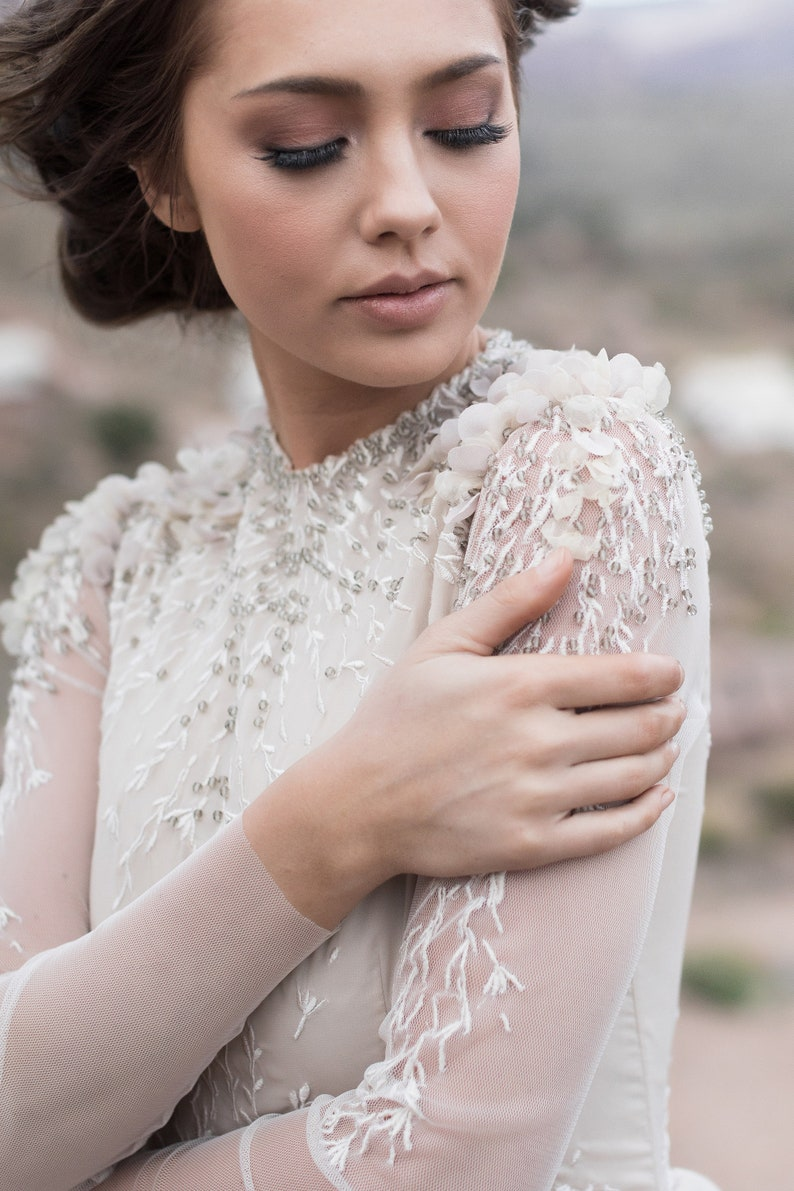 Ball-gown wedding dress with sheer long sleeve embroidered image 0