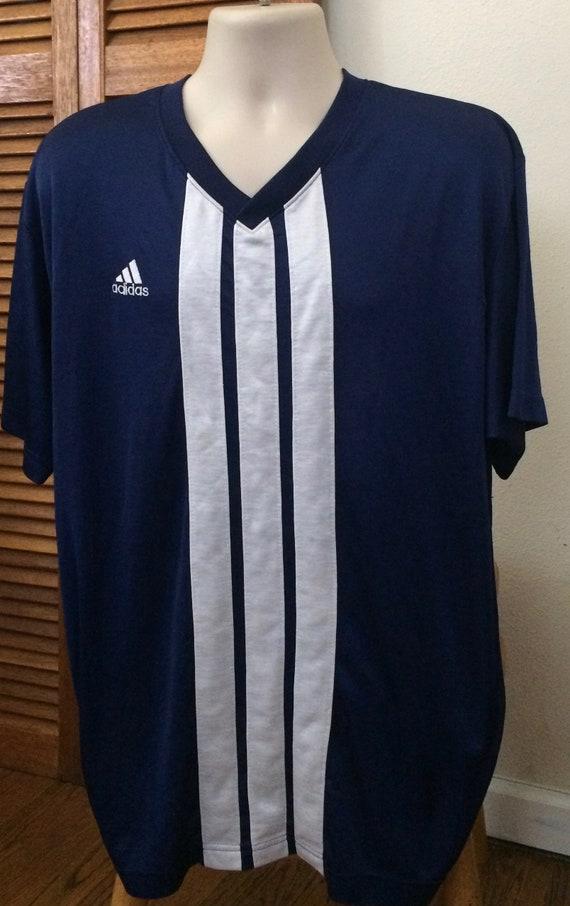 1980s Vintage adidas Soccer Style Jersy Super Soft Short Sleeve Navy Blue Shirt Trefoil Logo Slight Pilling Adult XL