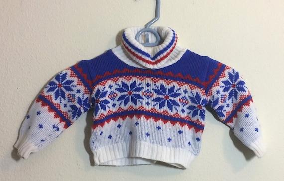 48f57cfc2 12-18M Vintage Snowflake Sweater Japan EVC Cowneck Boy or Girl