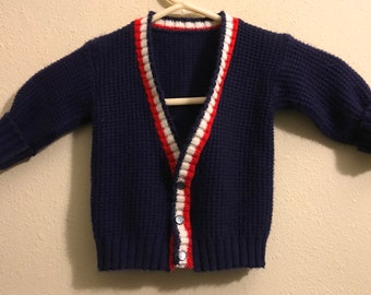 Baby Toddler 18-24M Vintage Cardigan Red White and Blue Vintage Buttons